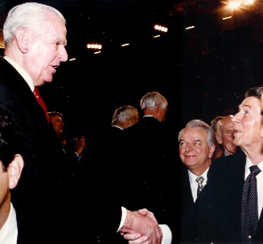 Congressman William H. Natcher and President Ronald Reagan, with Senator Robert C. Byrd looking on