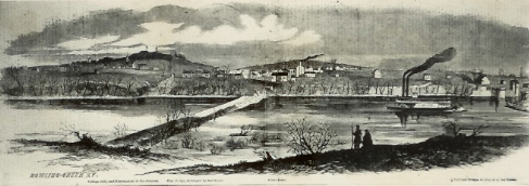 Harper's Weekly depicted the scene after departing Confederates destroyed bridges across the Barren River at Bowling Green, February 1862. (Kentucky Library & Museum)