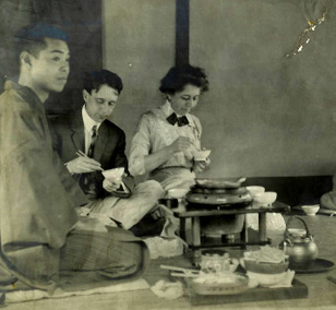 Cale Young Rice & Alice Hegan Rice dine in Japan, 1905 (Ky. Library & Museum photo)