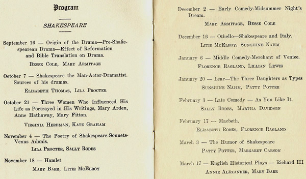 Ladies' Literary Club program 1924-25