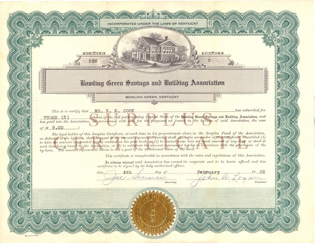 Bowling Green Savings & Building Association stock certificate, 1932