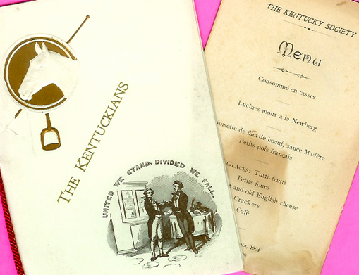 The Kentuckians menu, 1904, and dance program, 1909 (WKU Special Collections Library)