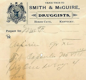 Hart County physician's prescription, 1909