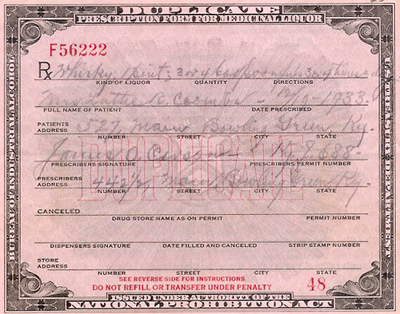 Prohibition-era prescription for medicinal liquor, 1933