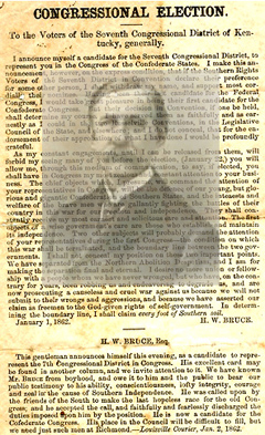 H. W. Bruce, candidate for Confederate Congress