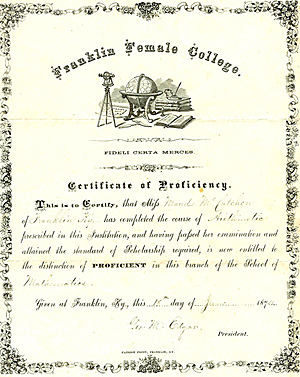 Maud McCutchen's certificate of proficiency, 1874