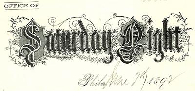 Saturday Night letterhead
