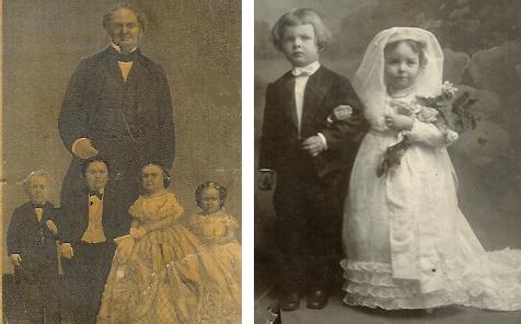 P. T. Barnum and Tom Thumb wedding party, 1863; Tom Thumb wedding, Bowling Green, 1905