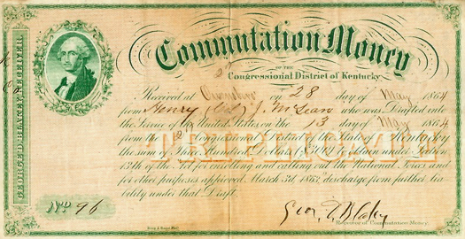 Henry McLean's commutation money receipt, 1864