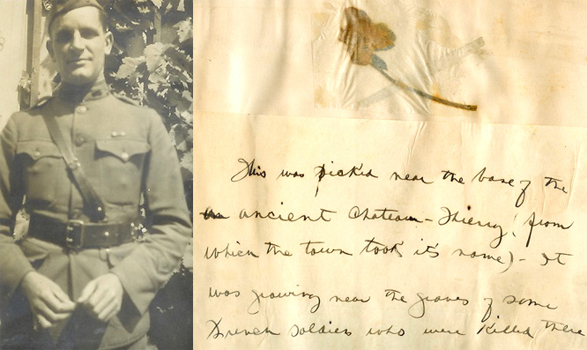 John Pleasant Potter, and a flower he picked near French soldiers' graves at Chateau-Thierry