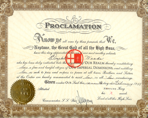 Elizabeth Woods's Equator crossing certificate