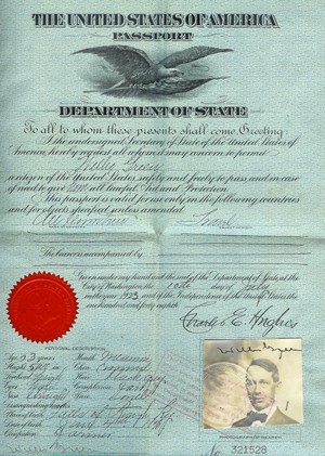 Willis Green's 1923 passport