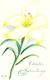Easter card of artist Mazie Lee Thomas