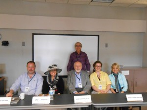 Brian Coutts with cookbook authors (left to right) Gaylord Brewer, Linda Hawkins, John van Willigen, Fiona Young-Brown, and Aimee Zaring