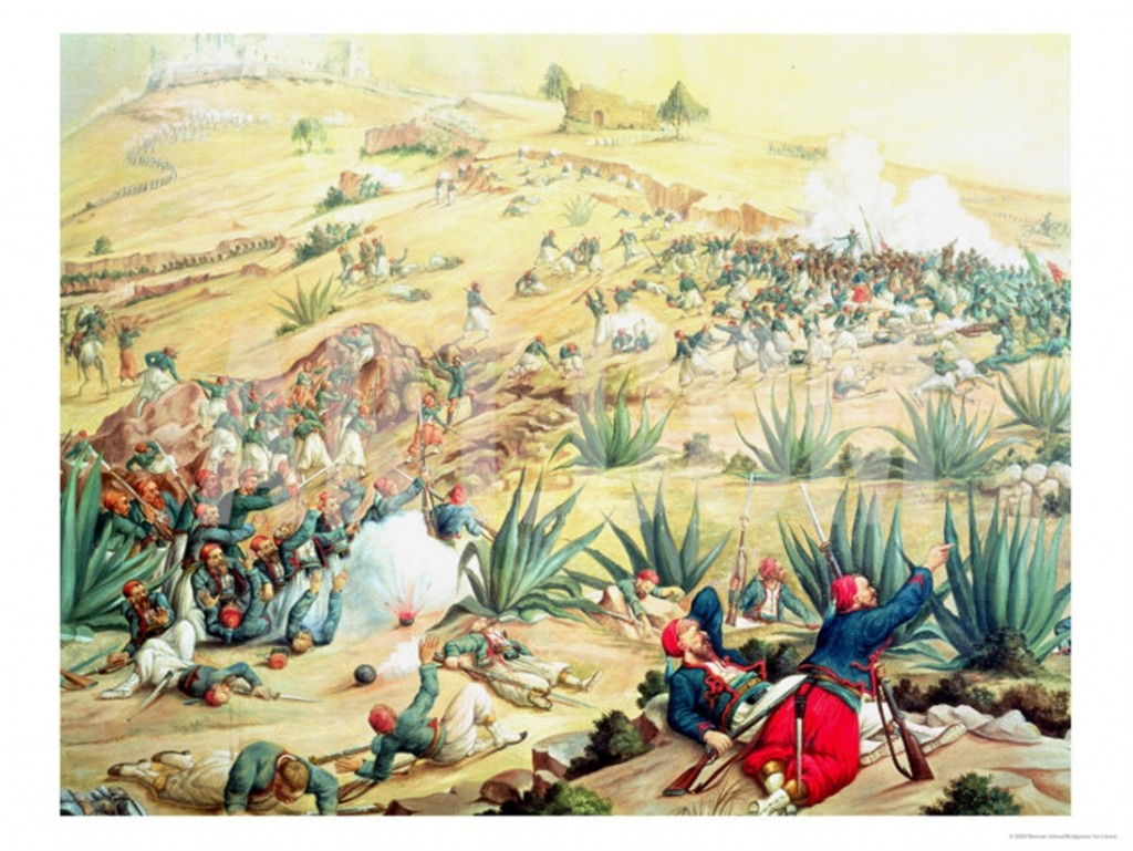 The Battle of Puebla, 5 May, 1862 (oil) Mexican School, (19th century), hangs in Museo Nacional de Historia, Castillo de Chapultepec, Mexico