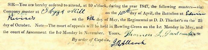 Muster notice to Andrew Kellis, 1847 (SC 98)