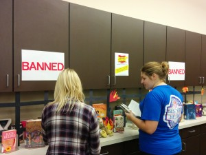 Students at the ERC Banned Books Week Display