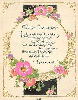 Birthday card to Senora Tolle