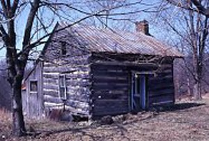 Photo of a single pen log cabin in Allen County from the Petersen Collection.