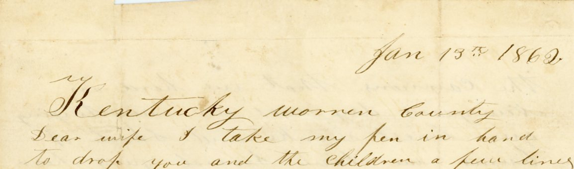 The salutation of J.J. Williams' letter to his wife, 13 January 1862.