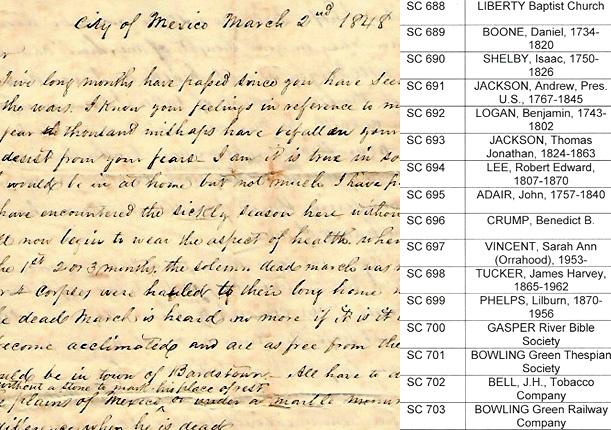 Charles Nourse letter; SC list