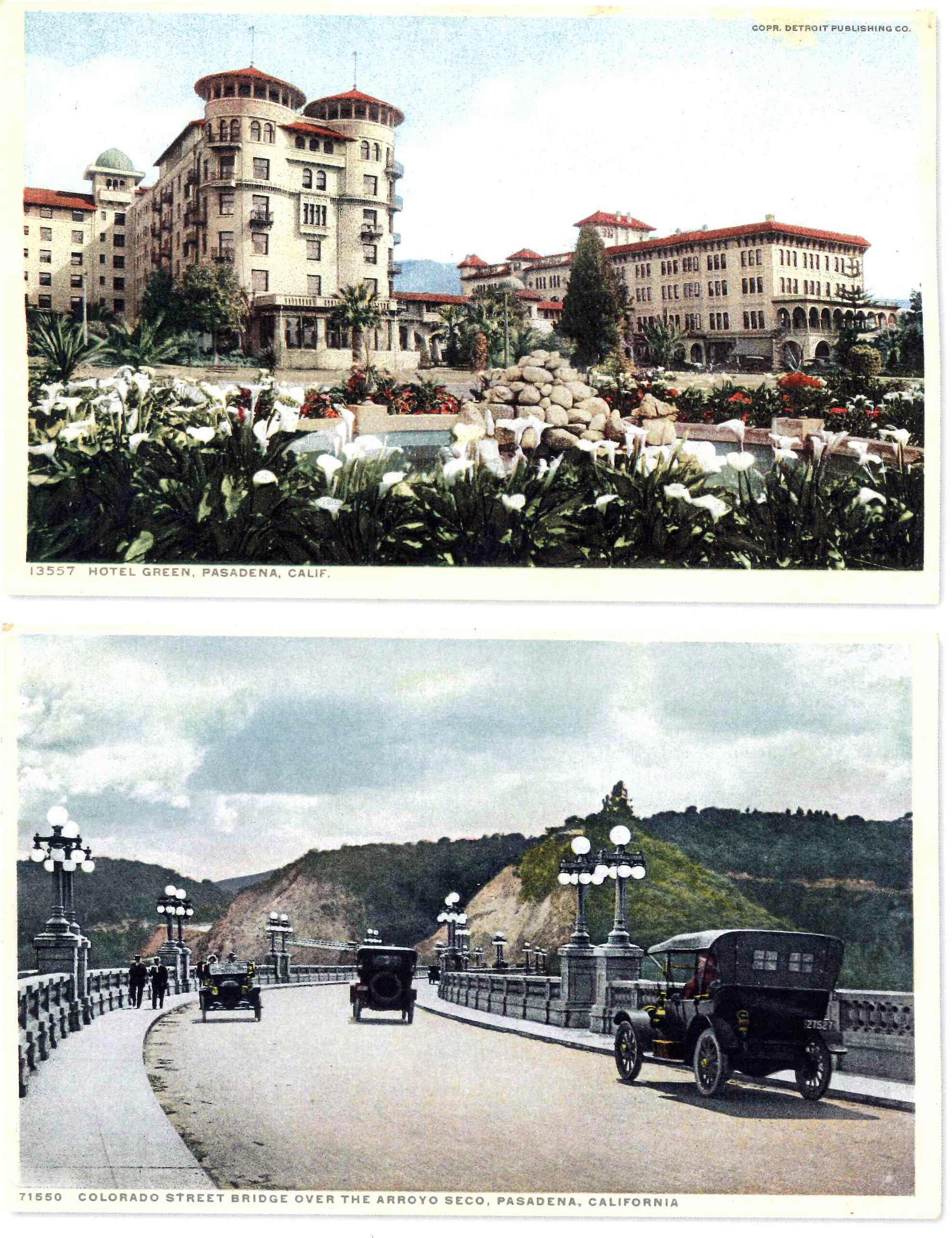 Hotel Green (top) and the Colorado Street Bridge over Arroyo Seco in Pasadena, California