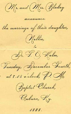 Marriage of Margie Helm's parents, 1888