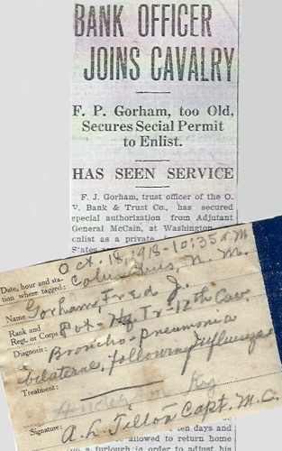 image of clipping and tag regarding Fred Gorham