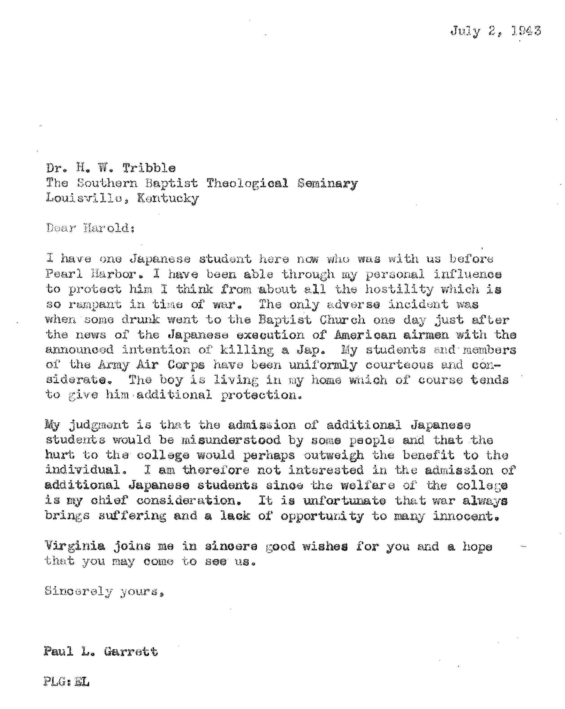 Tribble-Garrett Letter