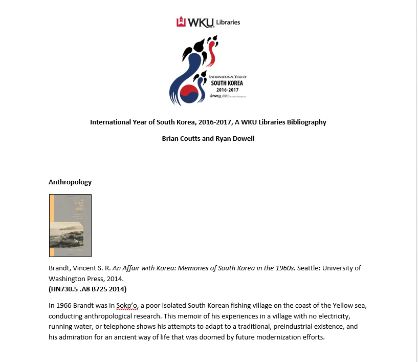 WKU Libraries IYO South Korea Bibliography