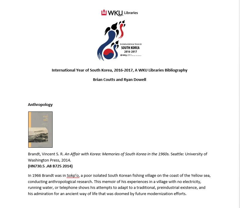 WKU Libraries IYO South Korea Bibliography