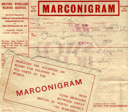 Marconigram to Clara Louise Robertson