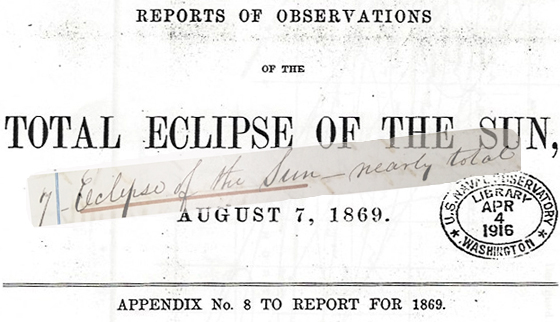 Prof. Langley and the Shakers report on the eclipse, 1869