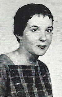 Photo of Sue Grafton (then Susan Flood) in 1960 Talisman, the WKU yearbook.