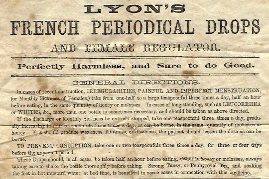Advertisement for Lyon's French Periodical Drops