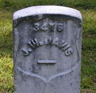 J. W. Davis gravestone, Shiloh National Cemetery