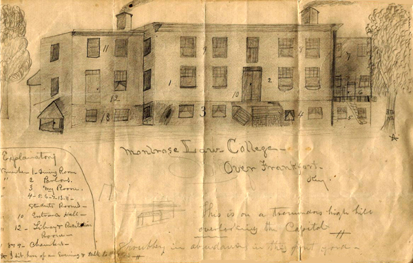 Student Henry Harris sketched the Montrose Law College, 1856