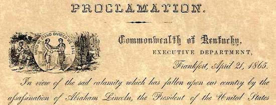 Lincoln assassination proclamation