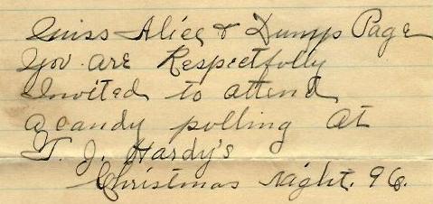 Candy pulling invitation, 1896