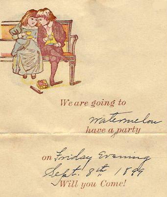 Virgie Talbert's watermelon party invitation