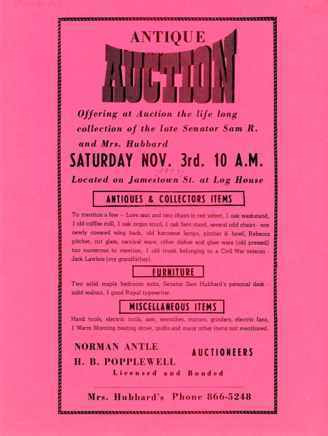 1973 Antique Auction broadside