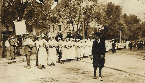 Red Cross workers parading in Bowling Green during World War I