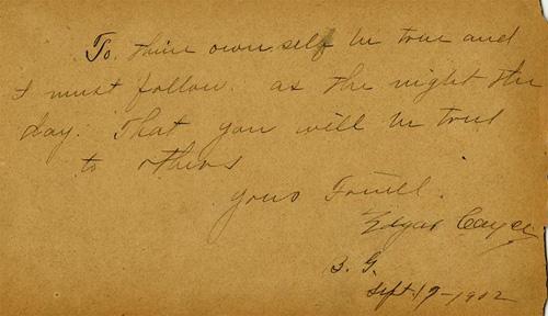Edgar Cayce Autograph
