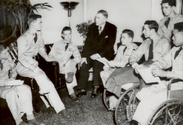 Vice President (and Kentuckian) Alben Barkley meets with Korean War amputees, May 1951. (Kentucky Library photo)