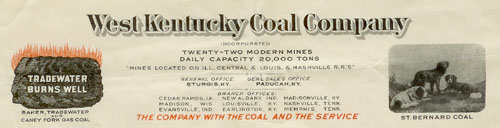 West Kentucky Coal Company letter, 1927