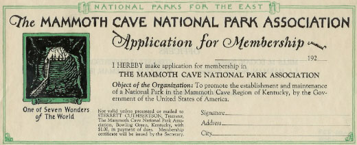 Mammoth Cave National Park Association membership form