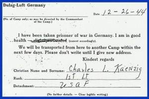 Charles Kaenzig's prisoner of war post