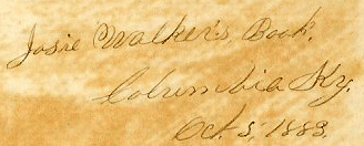 Josie Walker's diary inscription