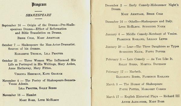 Ladies' Literary Club program 1924-25