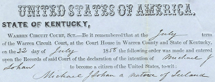 Warren County naturalization papers